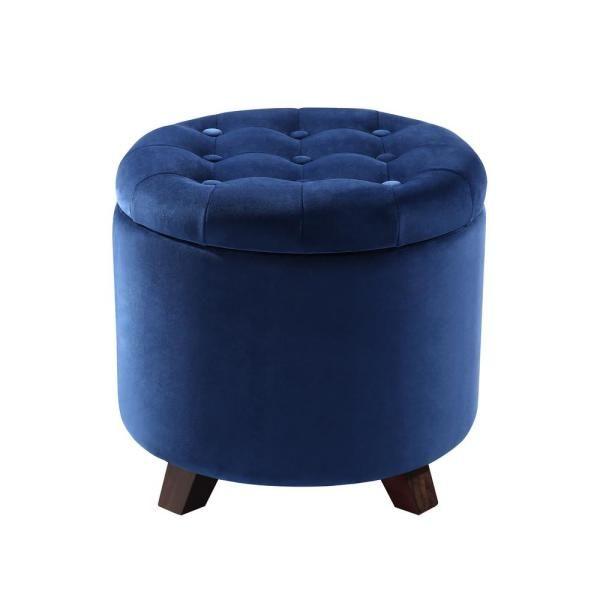 Poly And Bark Antonia Blue Velvet Storage Ottoman Hd 365 Blu Storage Ottoman Tufted Storage Ottoman Velvet Ottoman