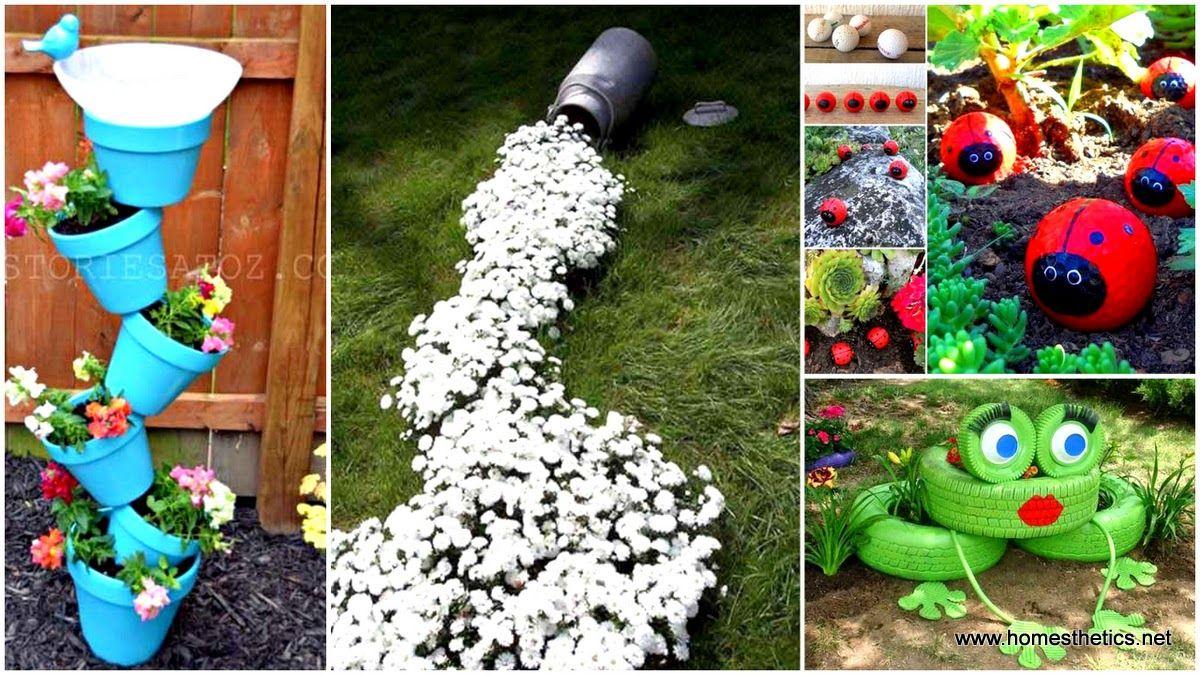 30 Kreatív kerti dekoráció fillérekből ~ Készítsd Otthon  Kerti dekoráció  Pinterest