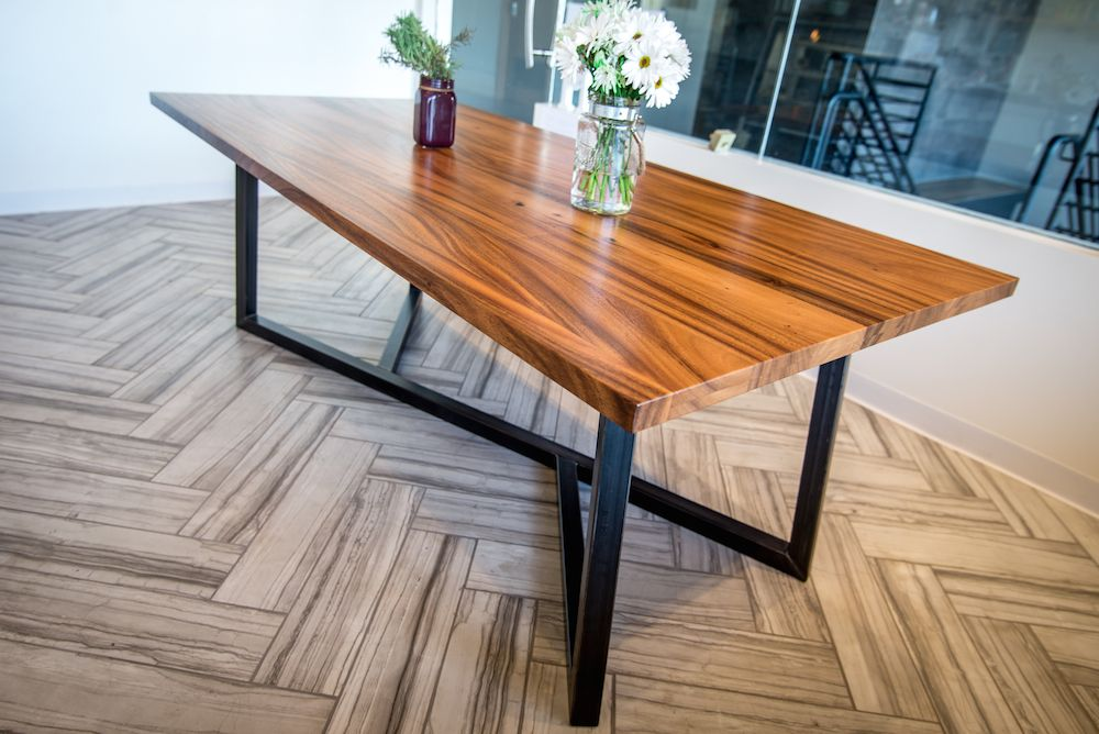 Monkey Pod Wood Table With A Y Steel Base, Made In Hawaii