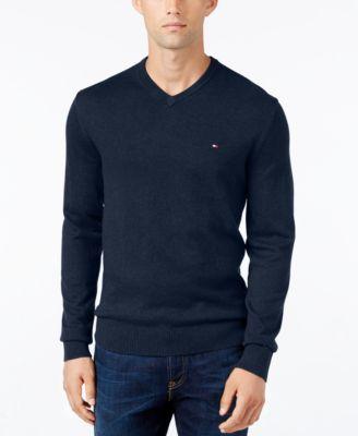 TOMMY HILFIGER Tommy Hilfiger Men's Pima Cotton and Cashmere V-Neck Sweater. #tommyhilfiger #cloth # sweaters