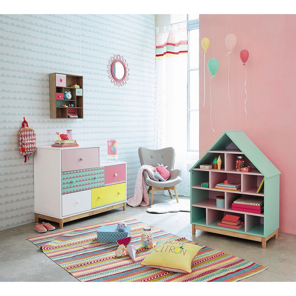 b cherregal haus f r kinder gr n und rosa biblioth que. Black Bedroom Furniture Sets. Home Design Ideas