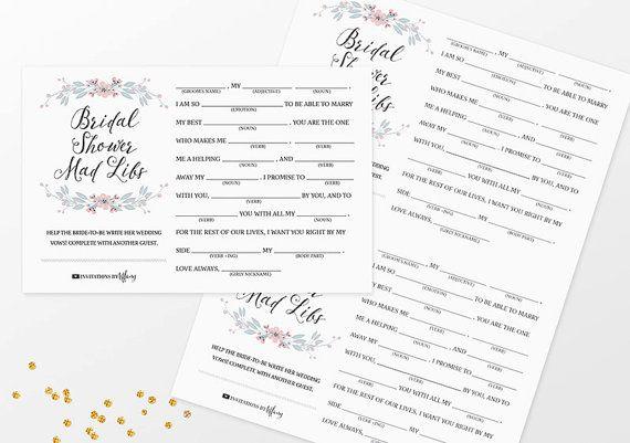 Instant Download Printable Bridal Shower Mad Libs