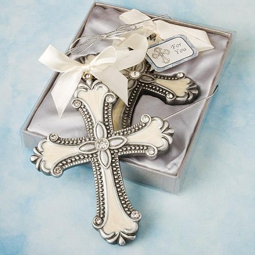 1 Silver Glitter design Cross Ornament favors Baptismal Christening Religious