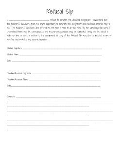 Sped Head Refusal Slip Try With Behavior Contract For Work