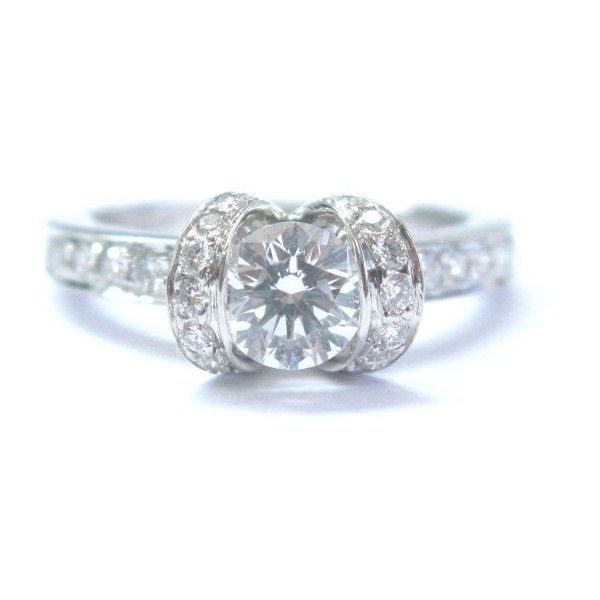8a2919624 Pre-owned Tiffany & Co Platinum Ribbon Diamond Engagement Ring ($5,463) ❤  liked on Polyvore featuring jewelry, rings, ribbon engagement ring, ...