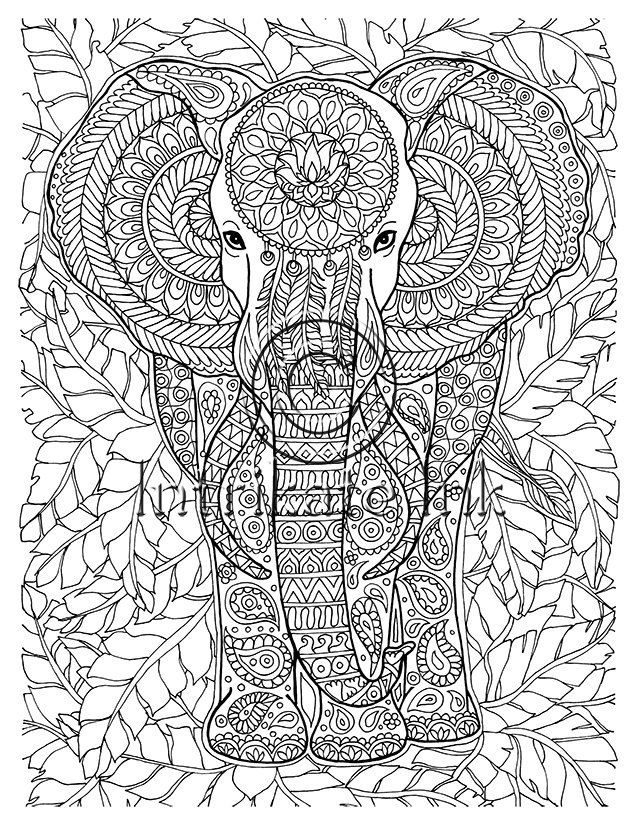 Elephant Coloring Page Animal Coloring Wild Detailed And Intricate Zentangle Art Doo Elephant Coloring Page Detailed Coloring Pages Animal Coloring Books