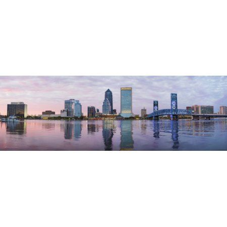Skyscrapers at the waterfront Main Street Bridge St Johns River Jacksonville Florida USA Canvas Art - Panoramic Images (27 x 9)