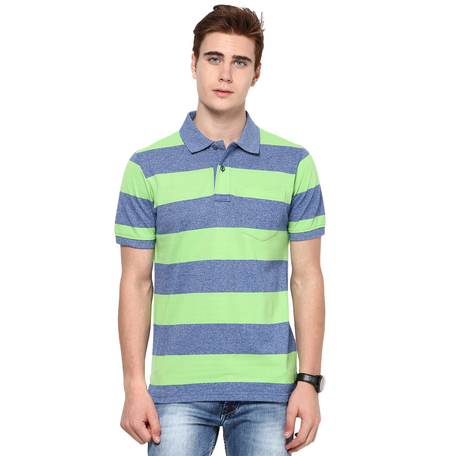 Neon Green And Light Shade Blue Mudo Rugby Polo T Shirt Mens Polo