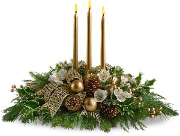 Decoracao De Natal Arranjo Floral Com Velas Douradas Eu Decoro