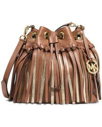 69fe245e3e6b09 MICHAEL Michael Kors Christy Medium Metallic Fringed Drawstring Messenger  Bag brown - Lyst