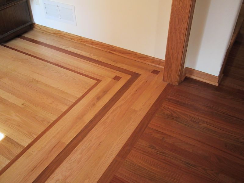 Hardwood Borders | Brazilian Cherry Floor On One Side. Brazilian Cherry  Feature Strip And .