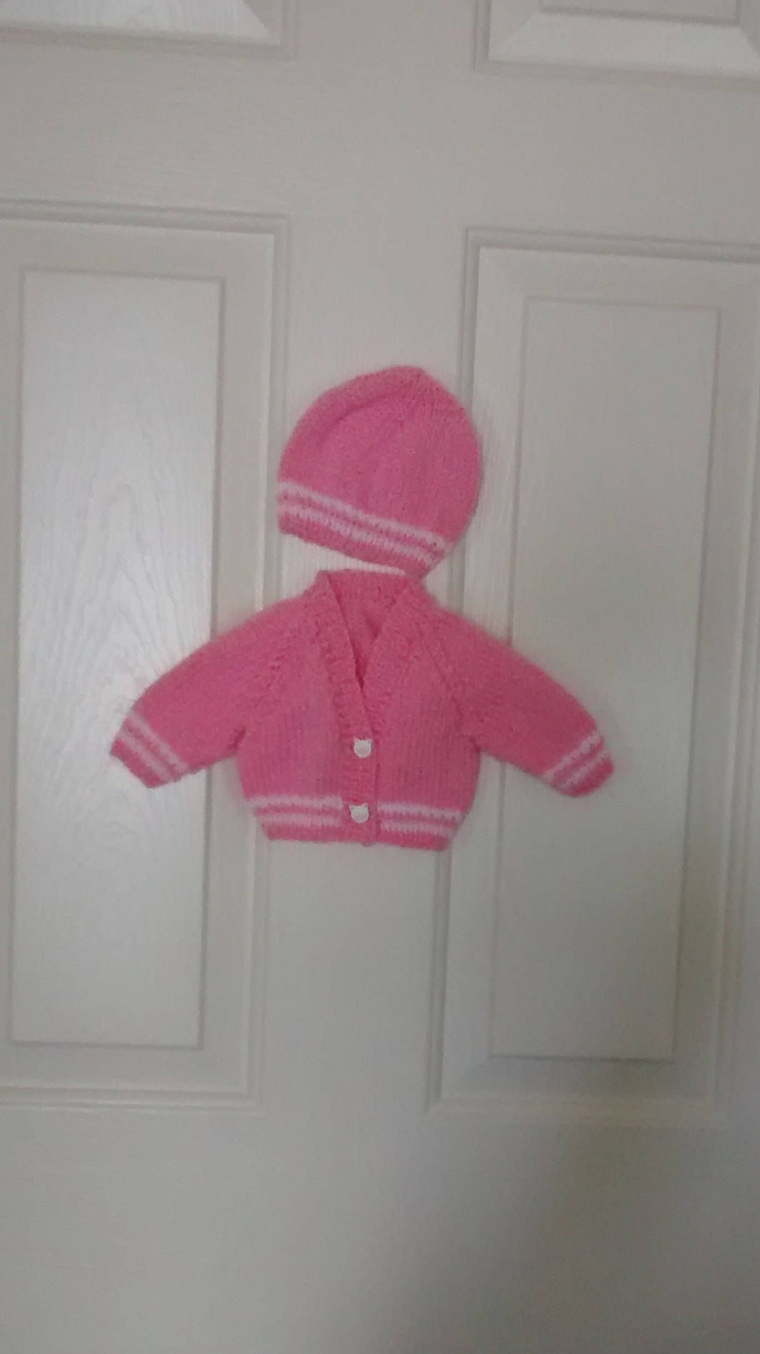 de2bd5d8d Hand Knitted Pink and White Preemie Baby Sweater and Hat Set with ...