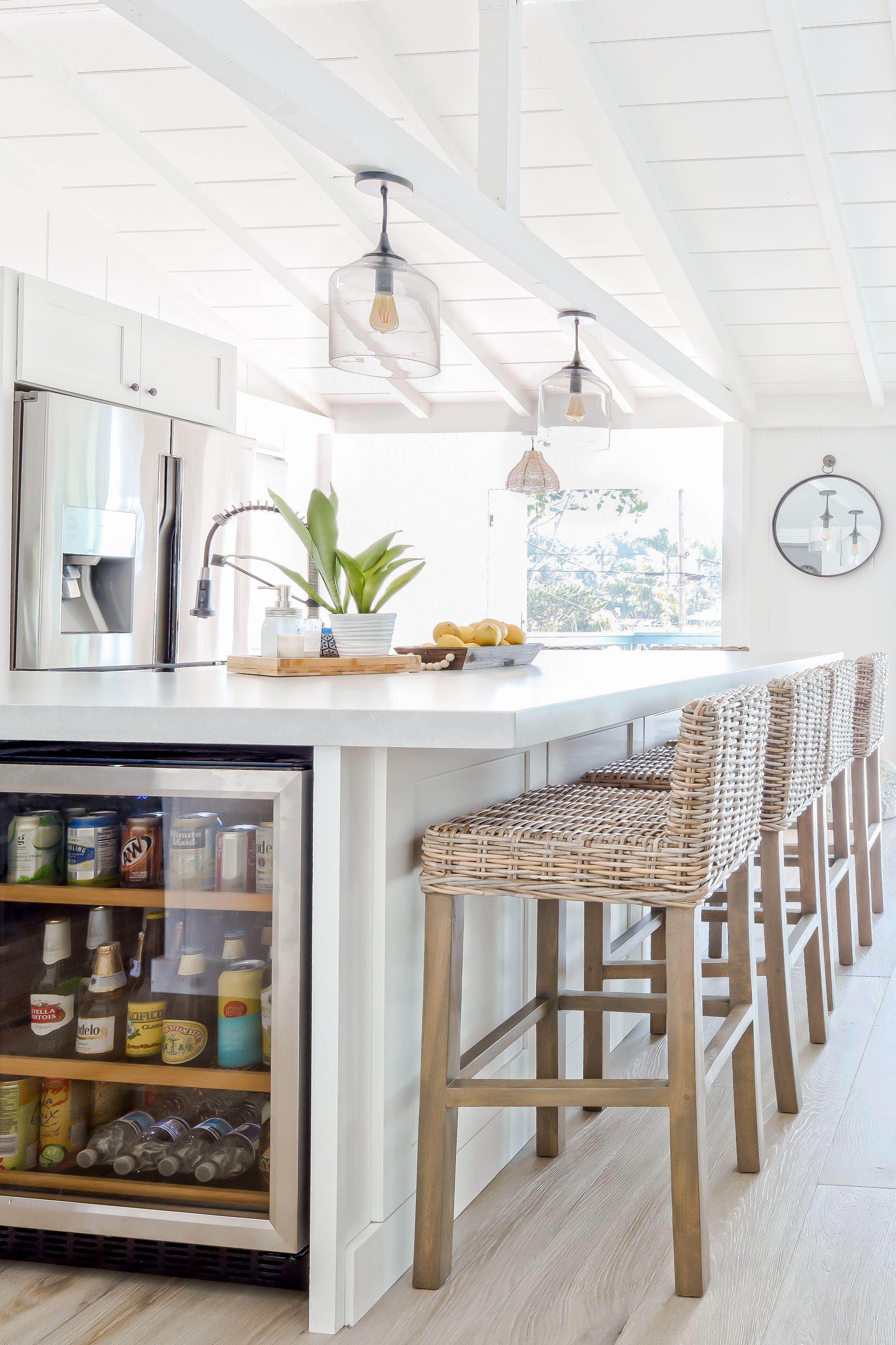 Beachouse in 2020 White kitchen floating shelves, Stools