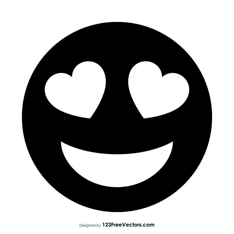 Black Smiling Face With Heart Eyes Emoji Eyes Emoji Emoji Coloring Pages Silhouette Art