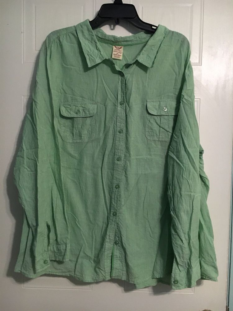 deea8b2a310d2 Faded Glory Women s Button Up Shirt Green Plaid. 4x Long Sleeves  fashion   clothing  shoes  accessories  womensclothing  tops (ebay link)