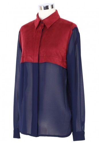 Color Block Chiffon Shirt in Navy