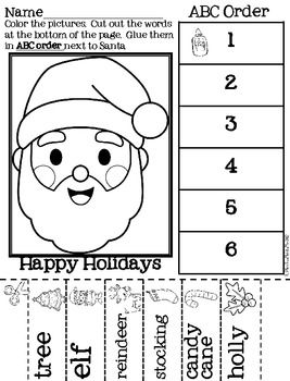 Christmas ABC Order Cut and Paste Printable---FREEBIE
