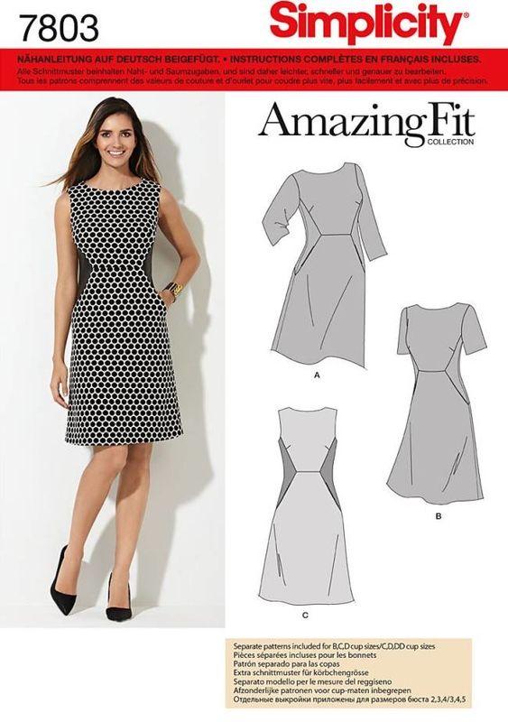 Schnittmuster Simplicity 7803 Kleid bei Schnittmuster.Net ...