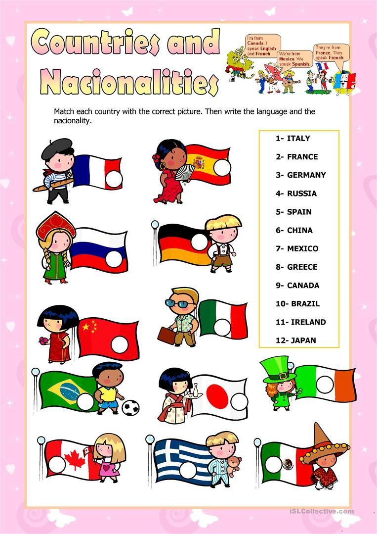countries and nationalities worksheet   Free ESL printable ...