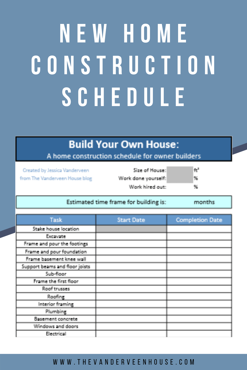 House Construction Schedule For Owner Builders In 2020 With