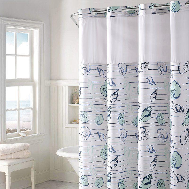 Hookless Seashell Stripe Print Polyester Shower Curtain Seashell