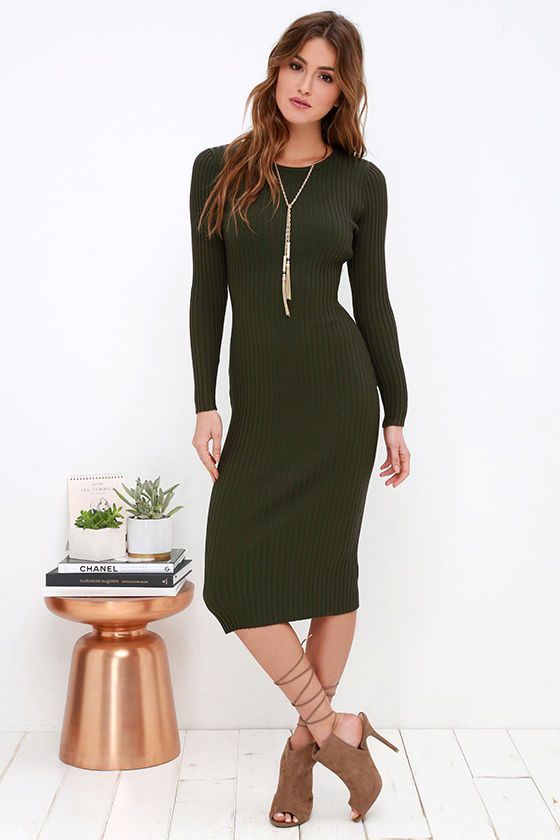 548101230a3 Simply Smitten Olive Green Sweater Dress at Lulus.com!