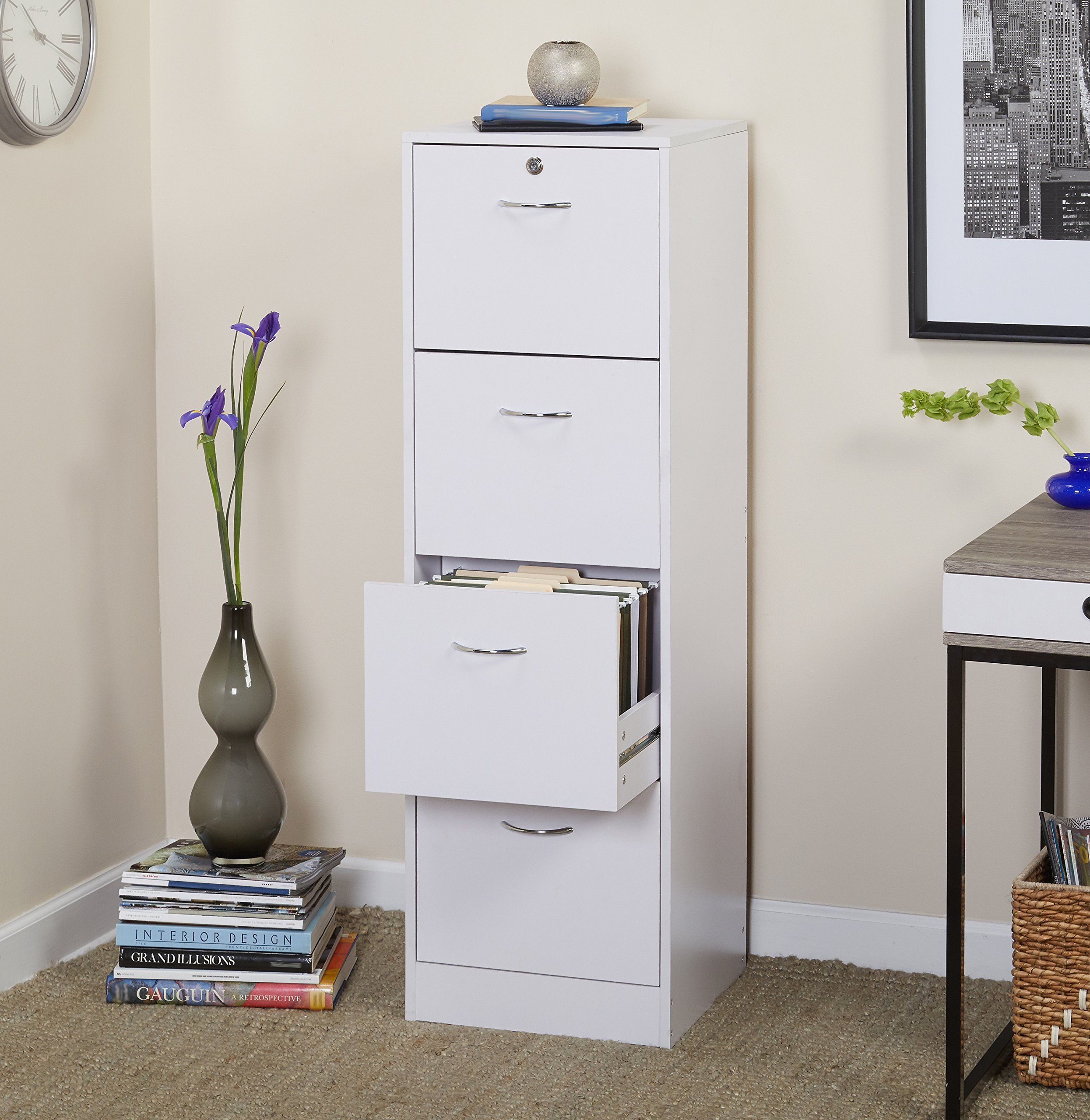 Four Drawer Vertical Wood Lockable File Cabinet Safeguards Documents And  Keeps Them Organized Prevents Your Papers From Fading Made Of Durable  Particleboard ...