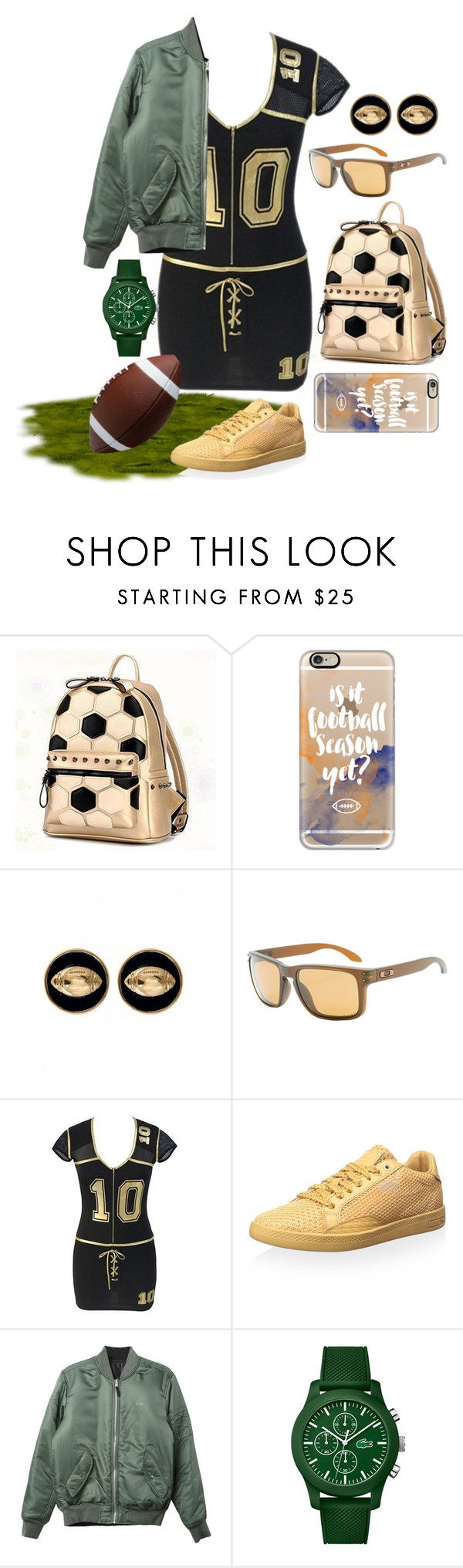 """football"" by aries-indonesia ❤ liked on Polyvore featuring BeiBaoBao, Casetify, Fornash, Oakley, Puma, HUF and Lacoste"
