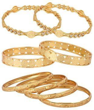 84fc19c67679bc Jewels Galaxy Alloy Gold Plating kundan/Meenakari Studded Gold Coloured Bangle  Set: Buy Jewels Galaxy Alloy Gold Plating kundan/Meenakari Studded Gold ...