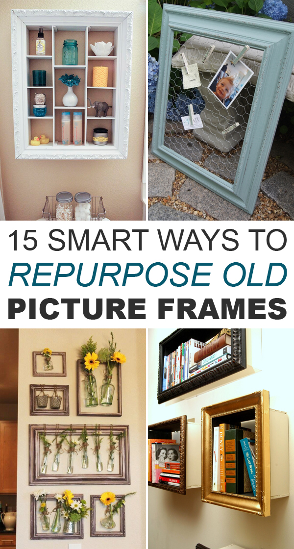 15 Smart Ways to Repurpose Old Picture Frames -   18 diy projects For The Home picture frames ideas
