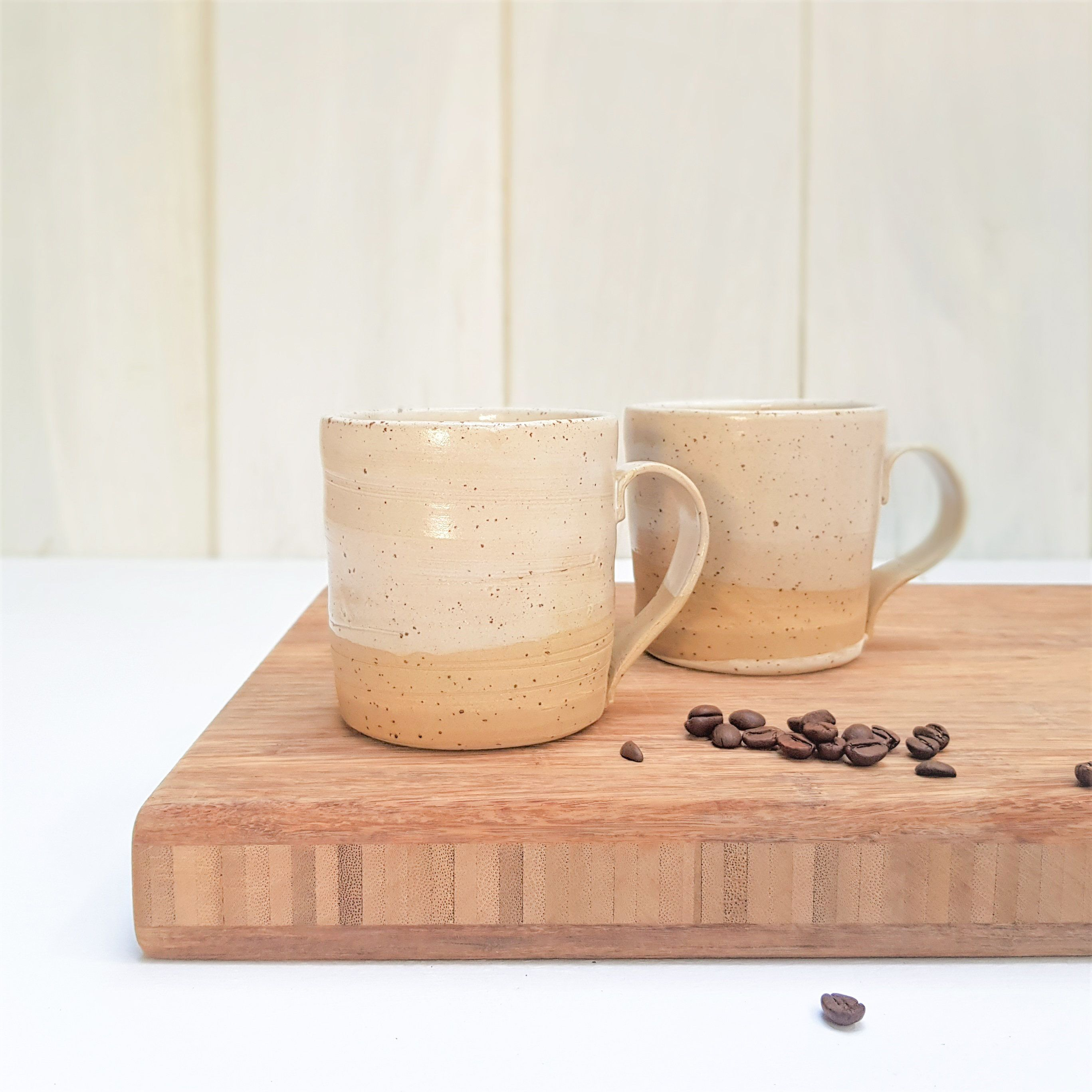 Set of 2 Brown and Beige Ceramic Mugs | Ceramic Coffee Cups Set | Modern Teacups