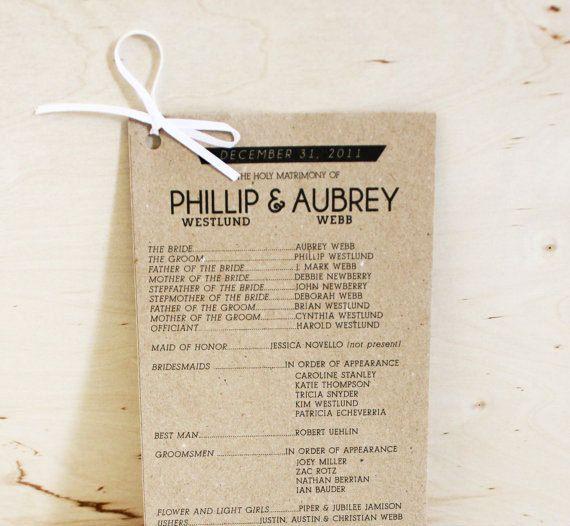 Rustic Wedding Programs By Yes Dear Studio