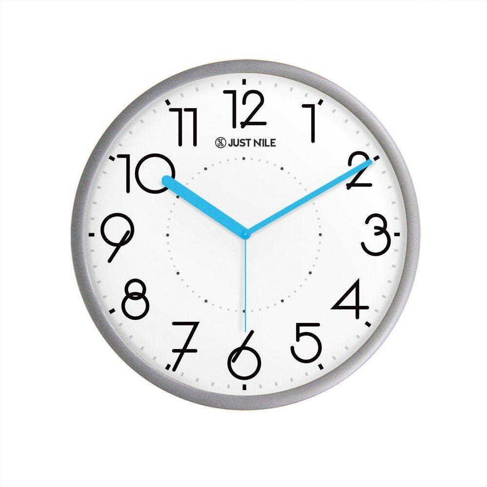 Justnile Silent Non Ticking Modern Wall Clock 13 Silver Frame