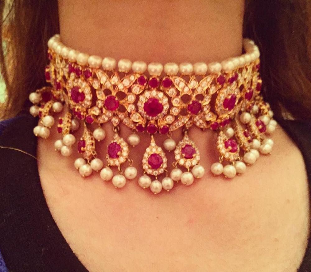 heavyk gold pearl and crystal choker collar - Google Search