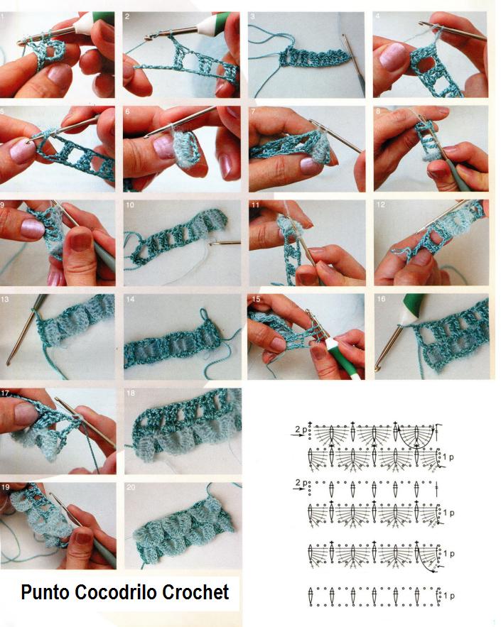 Punto Cocodrilo Crochet Tutorial y Patron - Patrones Crochet ...