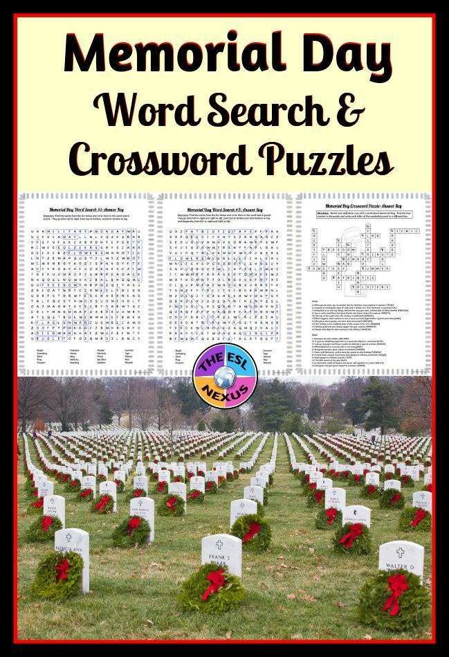 Memorial Day Word Search & Crossword Puzzles: Print ...
