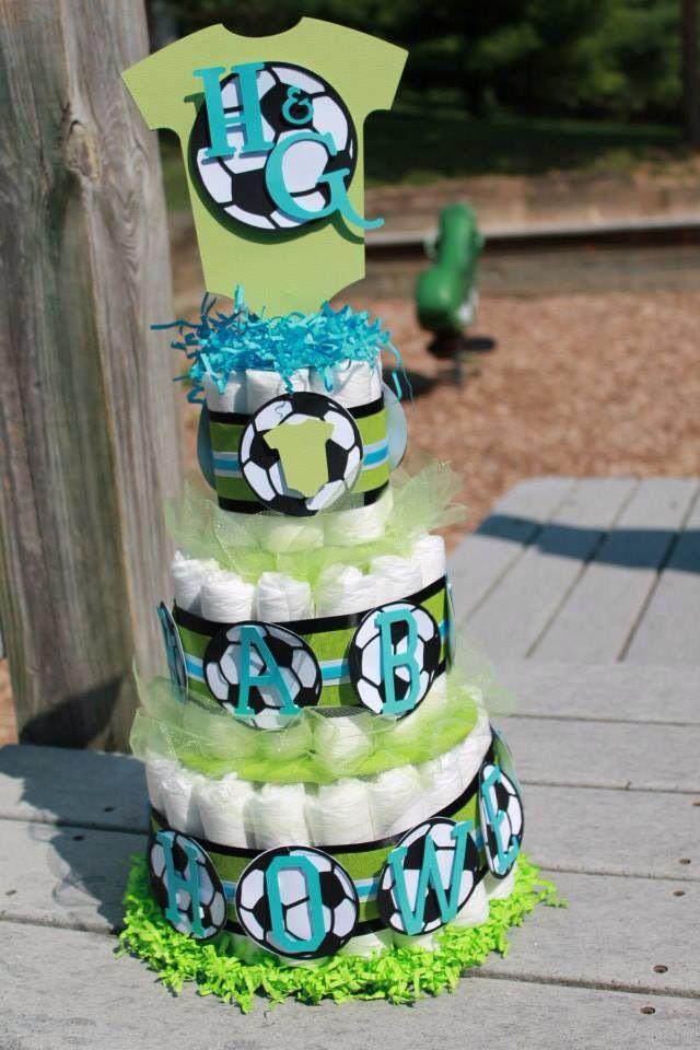 Large Soccer Diaper Cake In 2019 Baby Shower Cakes