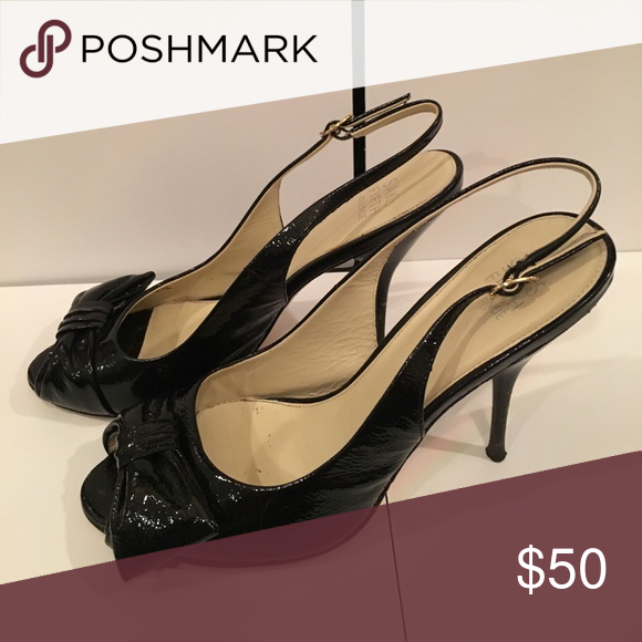 Bridal Shoes Saks: Black Patent Leather Peep Toe Heels Perfect Wedding Guest