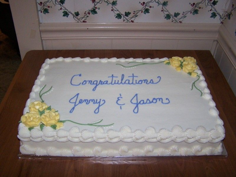 Wedding Cake Decorations Ideas Simple : Wedding Shower Sheet Cake - again, nice and simple. I think I liked the lacy edging better ...
