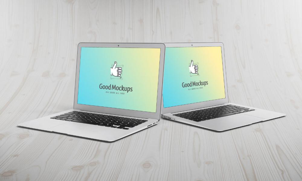 Free Dual Apple Macbook Air Mockup Psdfile Apple Macbook Air Apple Macbook Macbook Air