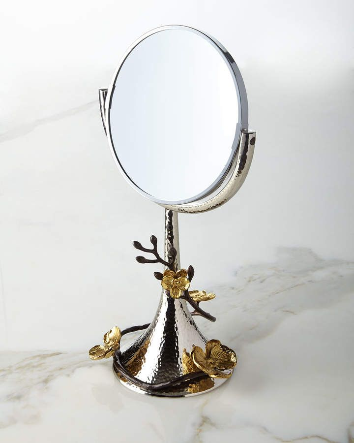 Michael Aram Gold Orchid Vanity Mirror Gold Vanity Mirror Gold Bathroom Accessories Mirror
