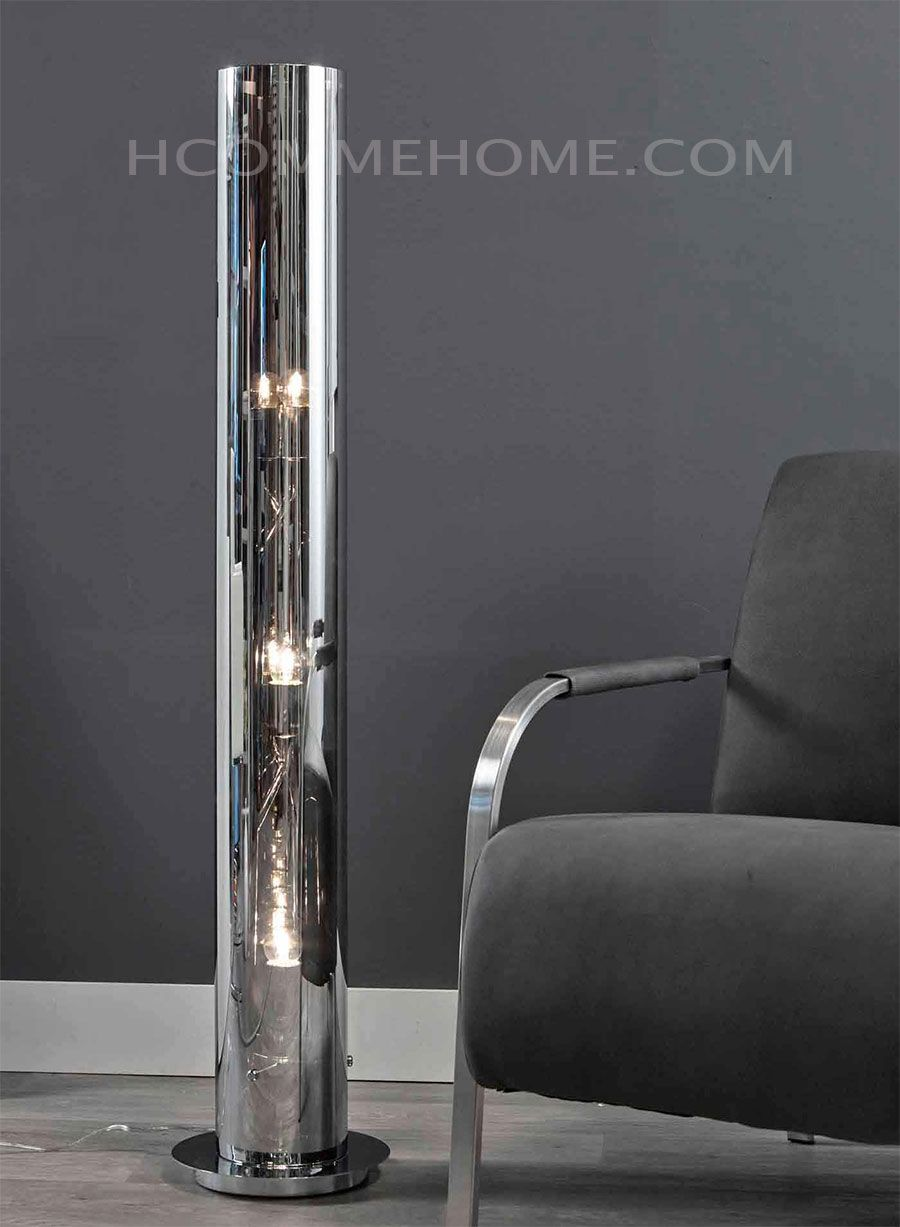 lampadaire colonne design en verre et nickel chrom orion 3 lampes lampadaire halog ne. Black Bedroom Furniture Sets. Home Design Ideas