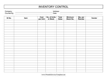 This Printable Inventory Control Log Keeps Track Of Stock Levels And  Reorders. It Is Available  Inventory Sheet Sample