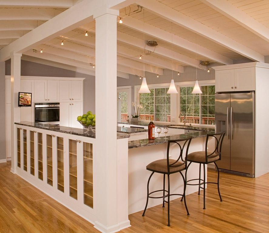 Traditional Kitchen With Flush, Exposed Beam, Flat Panel