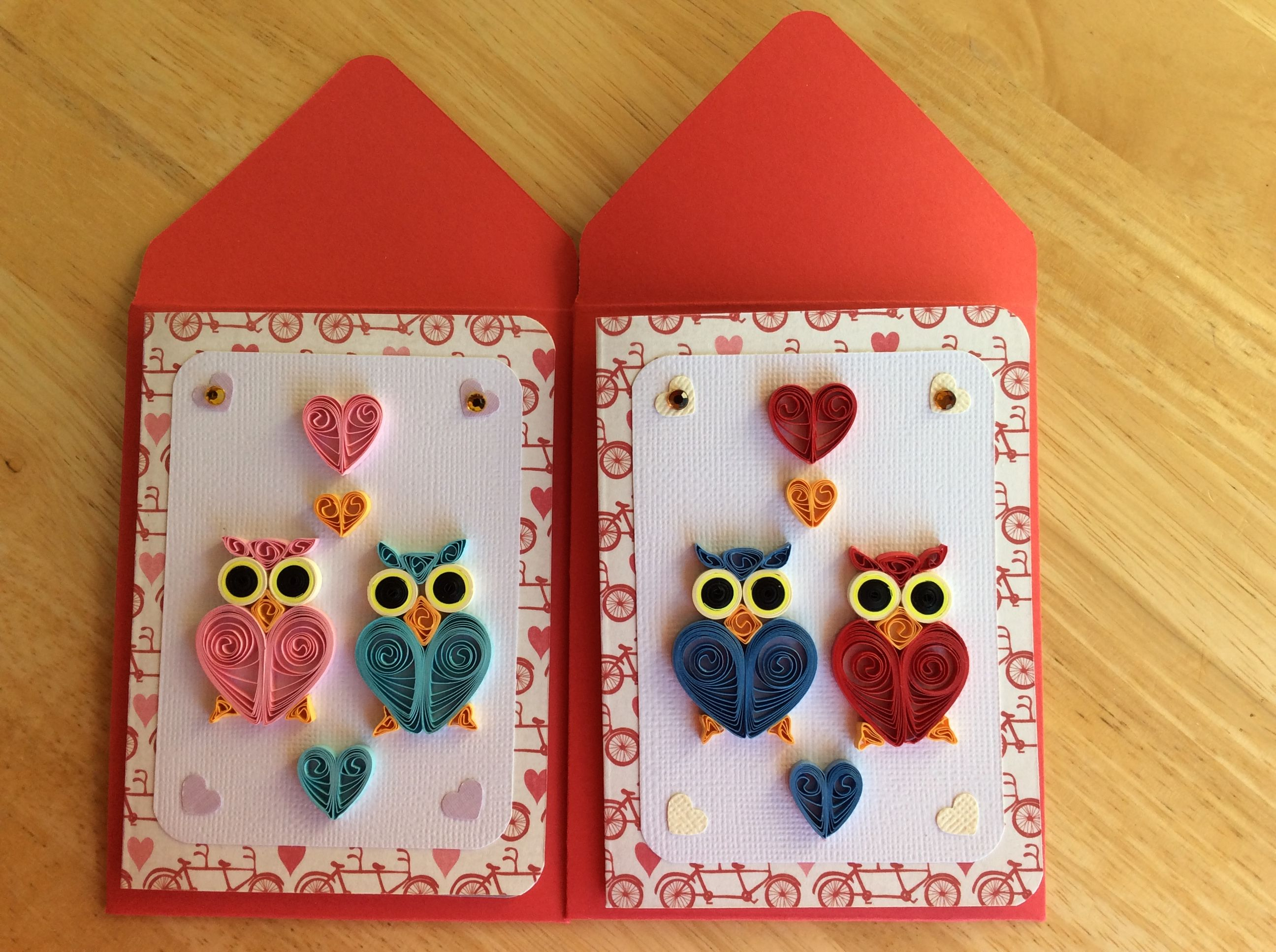 Paper quilled Valentine cards I made for my smart grandchildren