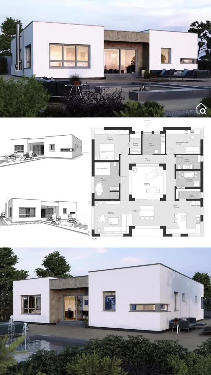 Moderner Fertighaus Bungalow mit Flachdach & Patio bauen Haus Grundriss 140 qm groß mit Innenhof