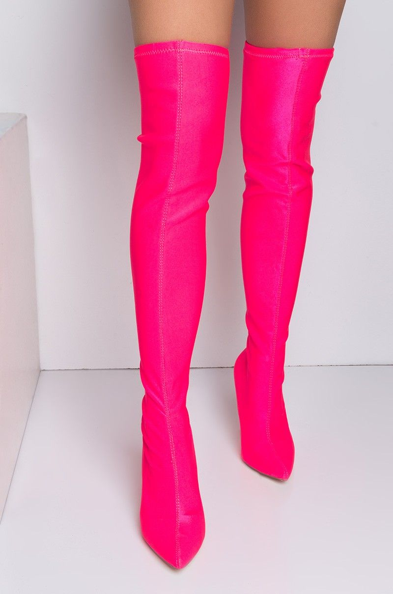 1e50231e1df3c Front View Cape Robbin No Dice Thigh High Boots in Neon Pink | Boots ...