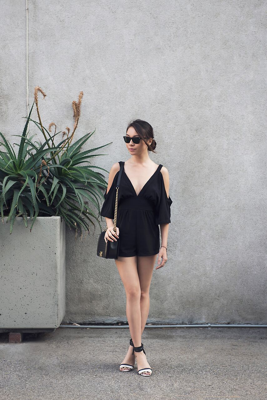 458e7eb246d Loving this off the shoulder kimono romper. Styled by SK  http