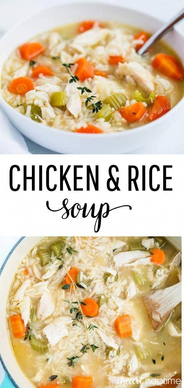 Chicken and Rice Soup - A comforting and delicious one-pot meal that the whole family will love! Makes the perfect soup recipe for chilly weather! #soup #soups #winter #winterrecipes #comfortfood #comfort #onepot #stove #crockpot #chicken #rice #easyrecipe #recipes #iheartnaptime #crockpotrecipessoup