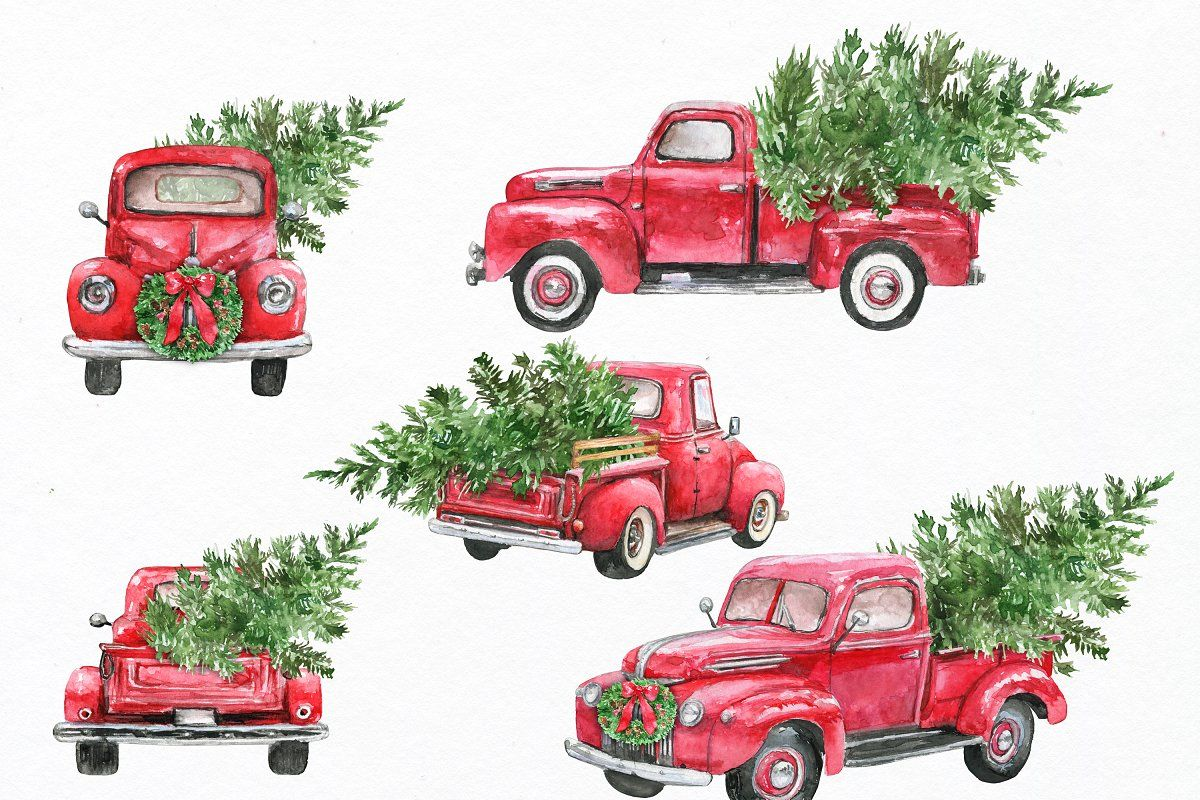 Christmas Truck Clipart Christmas Red Truck Christmas Truck Christmas Tree Painting